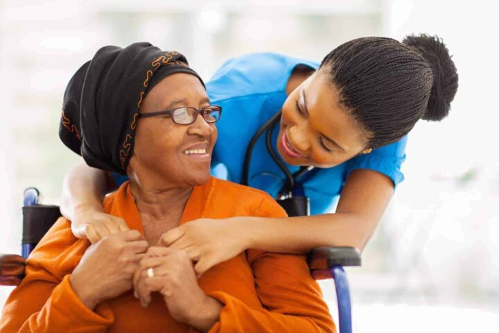 A nurse caring for a retired patient