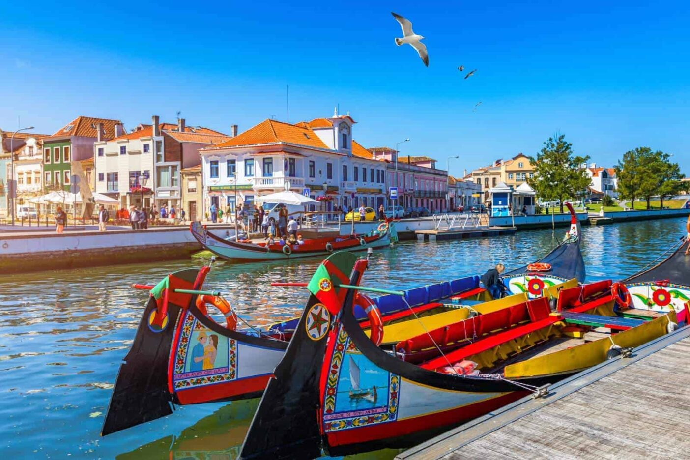 Traditional Portuegese canal boats - bright and colourful boats moored in an Aveiro canal.