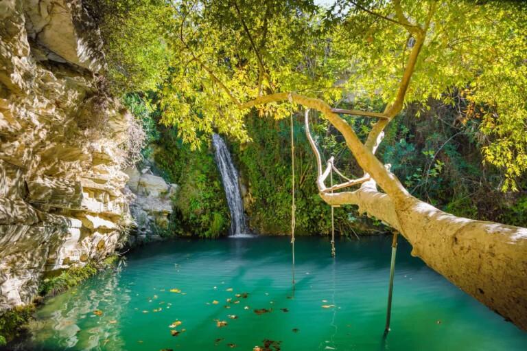 Adonis Baths, the famous showplace for tourists near Paphos, Cyprus.