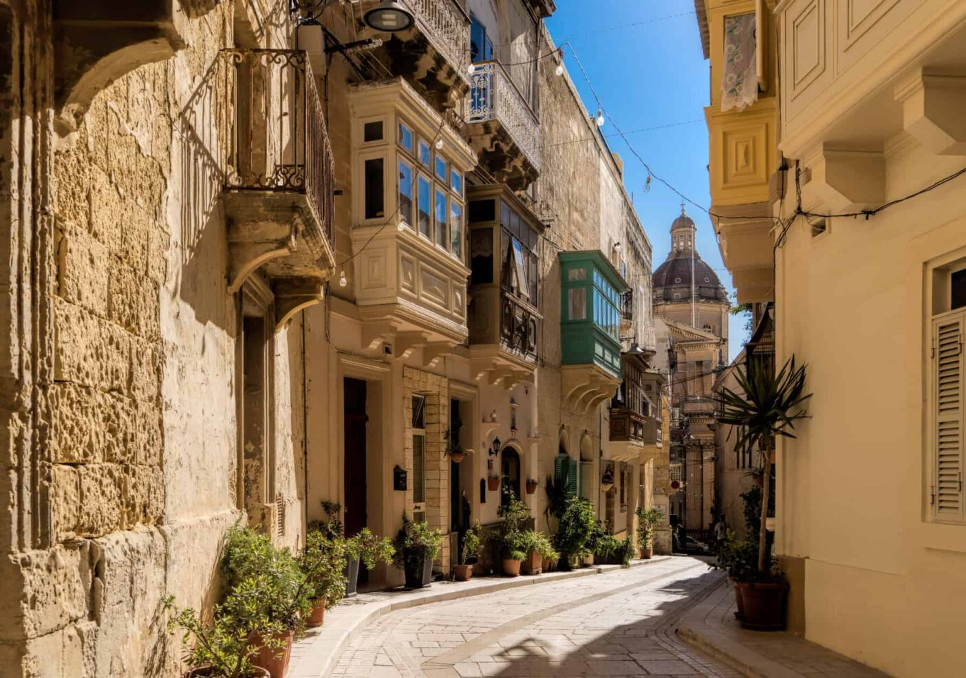 Cozy streets of Maltese towns adorned with traditional houses