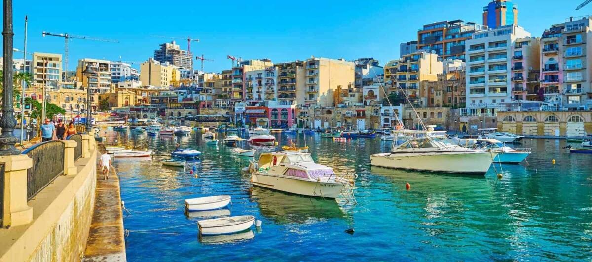 St Julian's marina in the Harbour Area, Valletta, Malta - best places to live in Malta